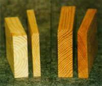 Eksempel på træ der er presset med Lignum teknikken
