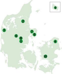 Placering af Danmarks 10 største skove