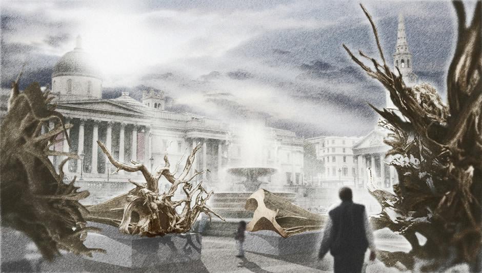 Ghost forest - sådan kommer udstillingen til at se ud (kilde www.ghostforest.org)