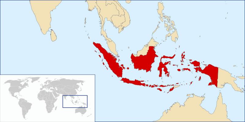 Kort over Indonesien