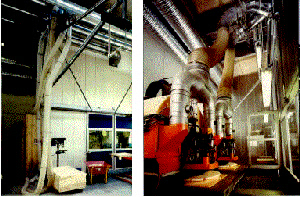 """""""CNC""""-maskine i et """"bulderhus"""" (v. udefra, h. indefra). En indkapsling mindsker støj og støv - og giver samtidig en energigevindst (Kilde: Træ nyt nr. 12-1997)."""