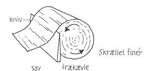 Skrællet finér: Tegningen viser hvordan kniven skræller finéren af - næsten som når du ruller papiret af en køkken-rulle. (Tegning: Eva Wulff)