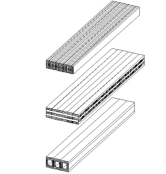 Massivtræelementer kan inddeles efter tre elementgrupper. Øverst: Kantstillede brædder, midterst: Krydsede brædder, nederst: Kasseelementer.