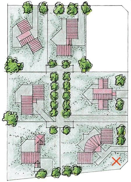 Brylleby består af seks forskellige huse. Huset med det røde kryds er opført som prøvehus.