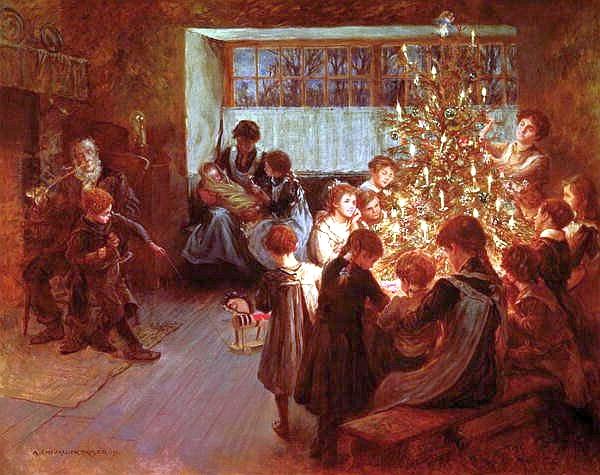 Traditionen med et juletræ i stuen stammer i følge kilder fra Tyskland (Billede: Albert Chevallier Tayler - The Christmas Tree, 1911)