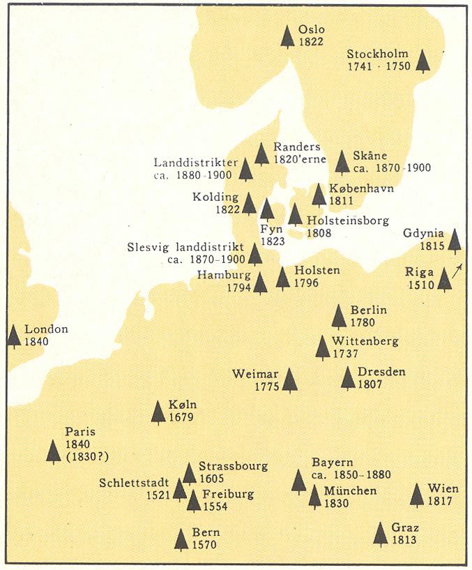 På kortet kan man se hvordan juletræsskikken har bredt sig i det nordlige Europa op til 1930.