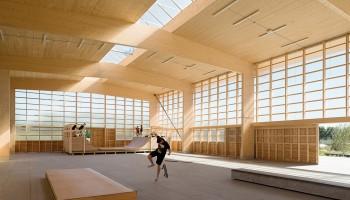 Skatehal bygget af træ i Gentofte. Arkitekt: Vandkunsten