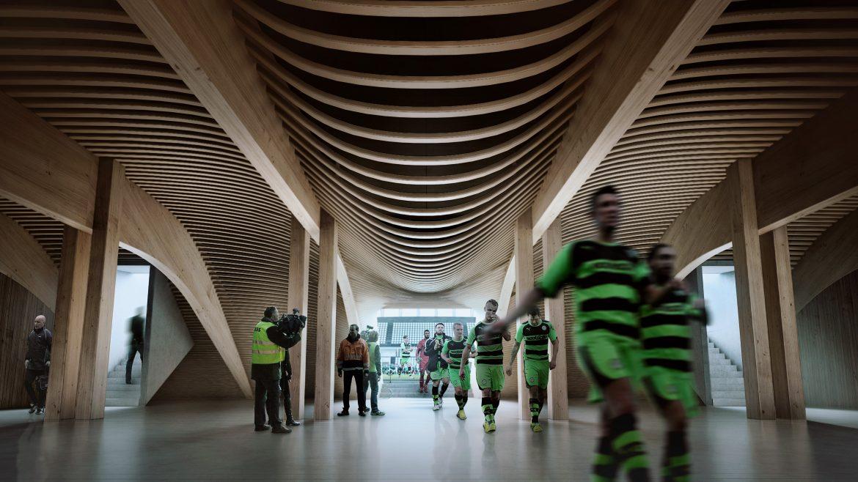 Fodboldstadion bygges af træ