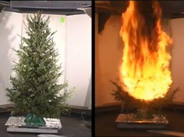 Brand i juletræ