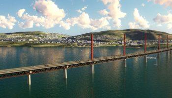 Rendering af ny bro over søen Mjösa som kan bygges af træ