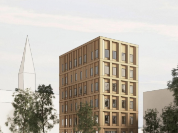 Cree Danmarks planlagte træhøjhus på Østerbro. Pressebillede.